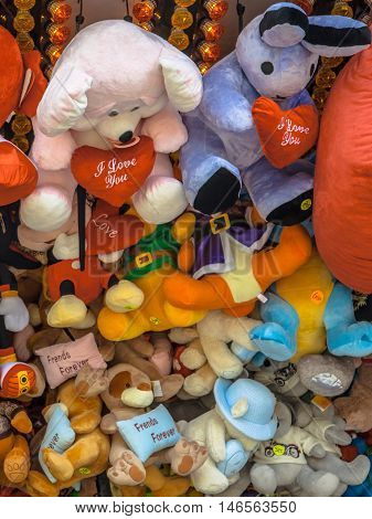 Teddy Bears and Cuddly Animal prizes in a Stall on a Fun Fair