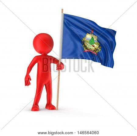3D Illustration. Man and flag US state of Vermont. Image with clipping path