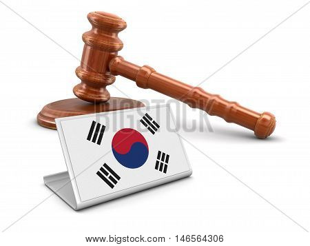3D Illustration. 3d wooden mallet and South Korean flag. Image with clipping path