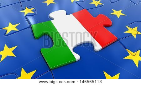 3D Illustration. Italy Jigsaw as part of EU