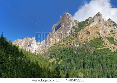 Spring mountain landscape. Mountain peaks in Western Tatra Poland.
