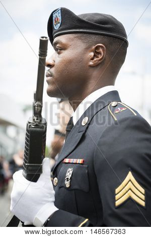 NEW YORK MAY 30 2016: Personnel from the US Army 99th Regional Support Command, Fort Dix, NJ prior to the rifle salute at the Memorial Day Observance service on the Intrepid Sea, Air & Space Museum.
