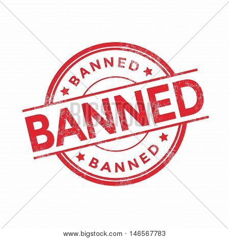 Banned red rubber stamp isolated. vector illustration