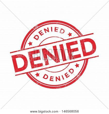 Denied red rubber stamp isolated. vector illustration