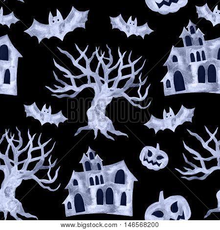 Halloween seamless pattern with halloween pumpkin, bat. Cute primitive watercolor