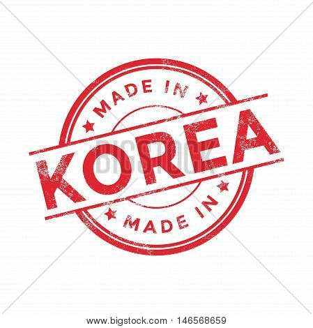 Made in Korea red vector graphic. Round rubber stamp isolated on white background. With vintage texture.
