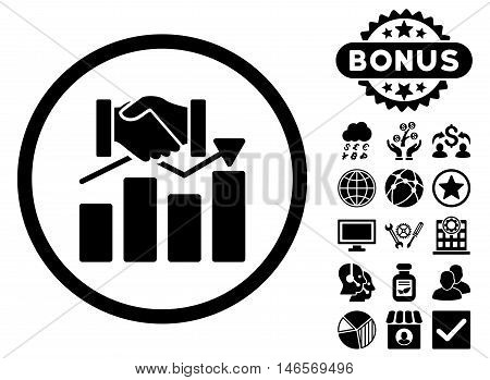 Acquisition Graph icon with bonus. Vector illustration style is flat iconic symbols, black color, white background.