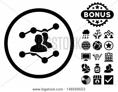 Audience Trends icon with bonus. Vector illustration style is flat iconic symbols, black color, white background.
