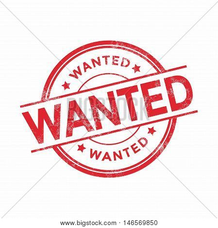 Wanted red rubber stamp isolated. vector illustration