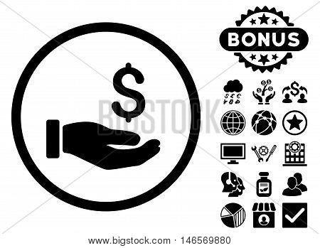 Earnings Hand icon with bonus. Vector illustration style is flat iconic symbols, black color, white background.