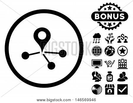 Geo Network icon with bonus. Vector illustration style is flat iconic symbols, black color, white background.