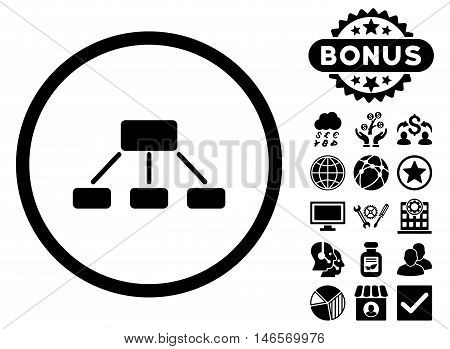 Hierarchy icon with bonus. Vector illustration style is flat iconic symbols, black color, white background.