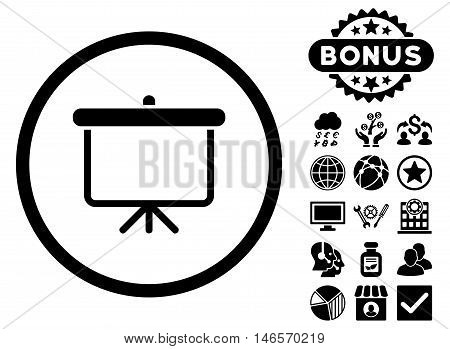 Projection Board icon with bonus. Vector illustration style is flat iconic symbols, black color, white background.