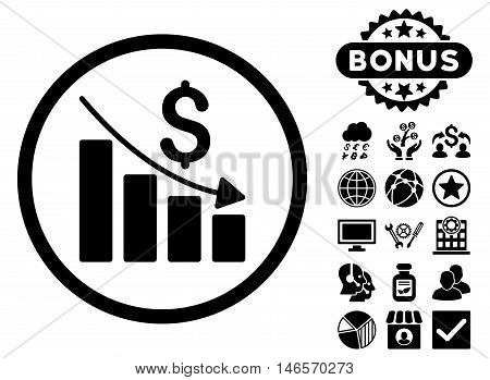Recession Chart icon with bonus. Vector illustration style is flat iconic symbols, black color, white background.