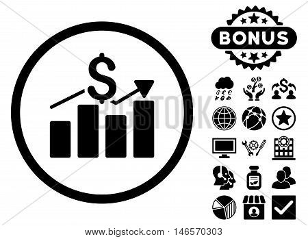 Sales Chart icon with bonus. Vector illustration style is flat iconic symbols, black color, white background.