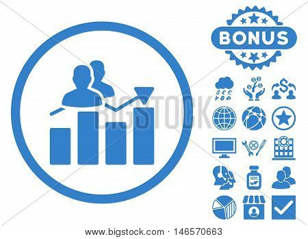 Audience Graph icon with bonus. Vector illustration style is flat iconic symbols, cobalt color, white background.