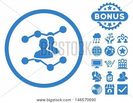 Audience Trends icon with bonus. Vector illustration style is flat iconic symbols, cobalt color, white background.