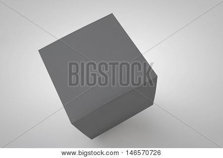 Mock up cardboard box standing on white background. Black packaging for your design. 3D rendering cardboard box.