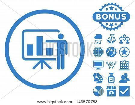Bar Chart Presentation icon with bonus. Vector illustration style is flat iconic symbols, cobalt color, white background.