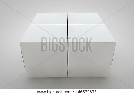 Mock up cardboard box standing on white background. White packaging for your design. 3D rendering cardboard box.