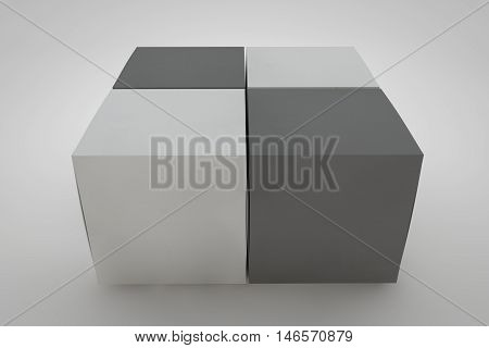 Mock up cardboard box standing on white background. Black and white packaging for your design. 3D rendering cardboard box.