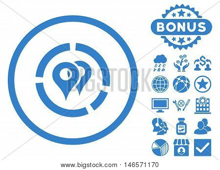 Geo Diagram icon with bonus. Vector illustration style is flat iconic symbols, cobalt color, white background.