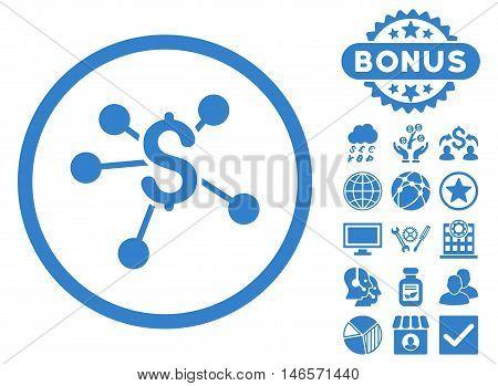 Money Emission icon with bonus. Vector illustration style is flat iconic symbols, cobalt color, white background.