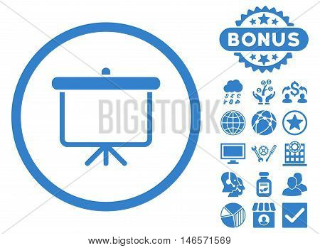 Projection Board icon with bonus. Vector illustration style is flat iconic symbols, cobalt color, white background.