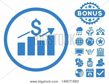 Sales Chart icon with bonus. Vector illustration style is flat iconic symbols, cobalt color, white background.