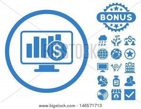 Sales Monitor icon with bonus. Vector illustration style is flat iconic symbols, cobalt color, white background.