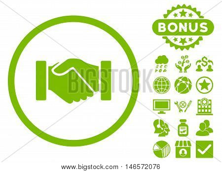 Acquisition Handshake icon with bonus. Vector illustration style is flat iconic symbols, eco green color, white background.