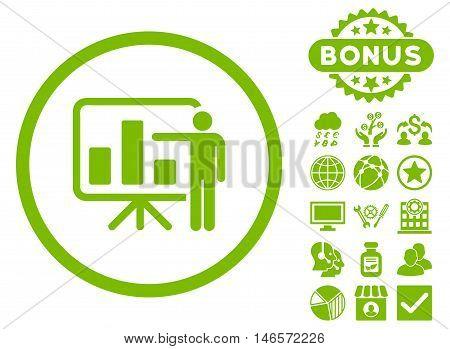 Bar Chart Presentation icon with bonus. Vector illustration style is flat iconic symbols, eco green color, white background.