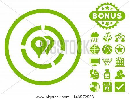 Geo Diagram icon with bonus. Vector illustration style is flat iconic symbols, eco green color, white background.