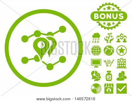 Geo Trends icon with bonus. Vector illustration style is flat iconic symbols, eco green color, white background.