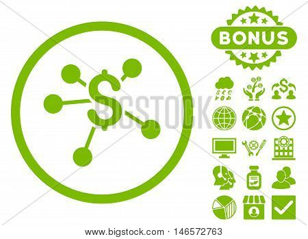 Money Emission icon with bonus. Vector illustration style is flat iconic symbols, eco green color, white background.