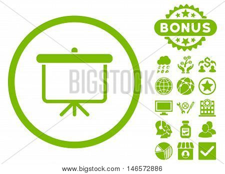 Projection Board icon with bonus. Vector illustration style is flat iconic symbols, eco green color, white background.