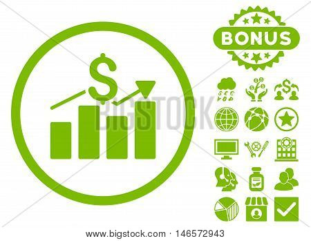 Sales Chart icon with bonus. Vector illustration style is flat iconic symbols, eco green color, white background.