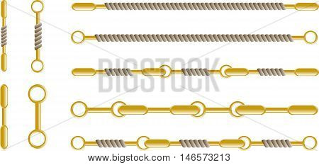 Abstract graphic set of rope with rings. EPS10
