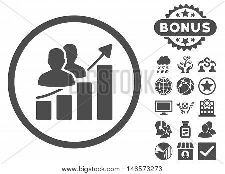 Audience Growth Chart icon with bonus. Vector illustration style is flat iconic symbols, gray color, white background.