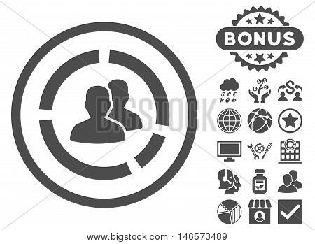 Demography Diagram icon with bonus. Vector illustration style is flat iconic symbols, gray color, white background.