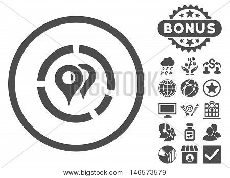 Geo Diagram icon with bonus. Vector illustration style is flat iconic symbols, gray color, white background.
