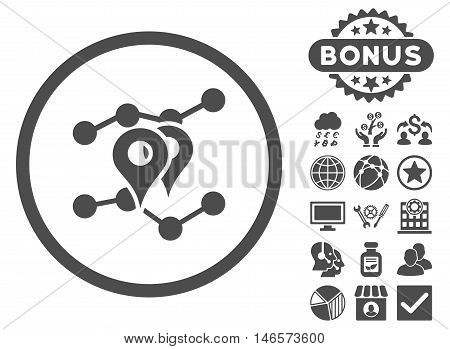 Geo Trends icon with bonus. Vector illustration style is flat iconic symbols, gray color, white background.