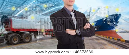 Businessman with supply chain management logistics ,success concept,import export background.