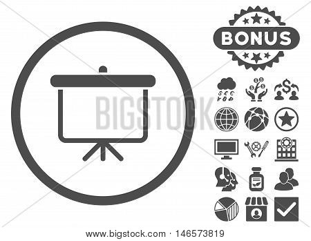 Projection Board icon with bonus. Vector illustration style is flat iconic symbols, gray color, white background.