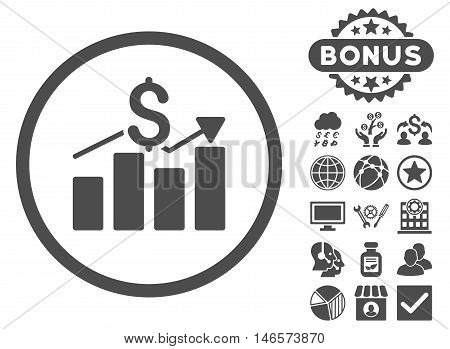 Sales Chart icon with bonus. Vector illustration style is flat iconic symbols, gray color, white background.
