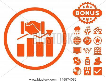 Acquisition Graph icon with bonus. Vector illustration style is flat iconic symbols, orange color, white background.