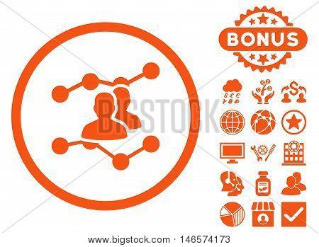 Audience Trends icon with bonus. Vector illustration style is flat iconic symbols, orange color, white background.