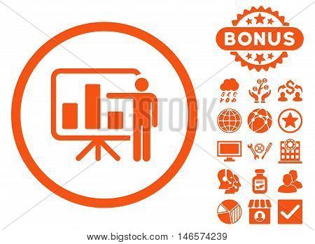 Bar Chart Presentation icon with bonus. Vector illustration style is flat iconic symbols, orange color, white background.