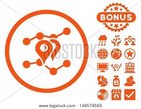Geo Trends icon with bonus. Vector illustration style is flat iconic symbols, orange color, white background.