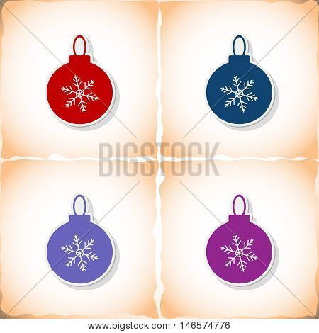 Christmas ball. Flat sticker with shadow on old paper. Vector illustration